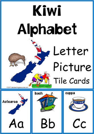 Kiwi Alphabet | Letter – Picture | Cards