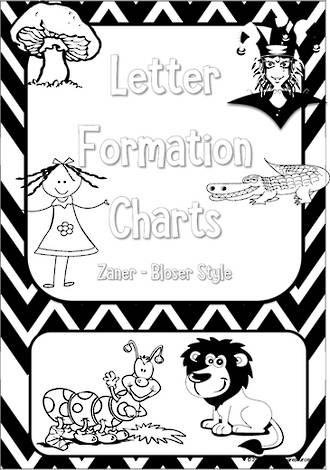 Kindergarten Handwriting | Letter Formation | Black and White | Charts | Zaner-Bloser Style