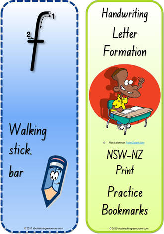 Year 1 Handwriting | Terminology |  Bookmark | Lowercase Letter | Cards | NSW-NZ Print