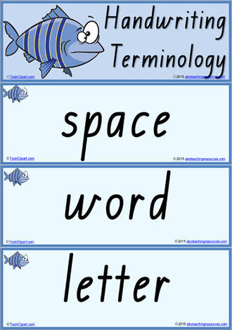 Year 1 Handwriting | Terminology | Vocabulary | Flashcards | QLD Print
