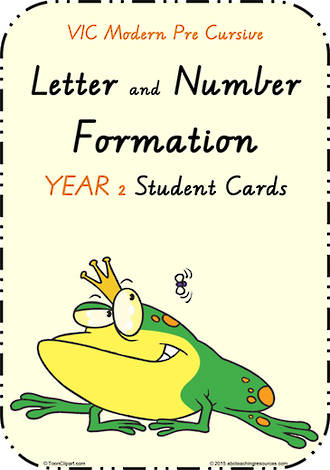 Year 2 | Handwriting | Letter Formation | Table  Cards | VIC Modern PreCursive