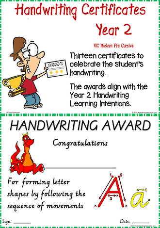 Year 2 Handwriting | Visible Learning | Achievement  Certificates | VIC Modern PreCursive