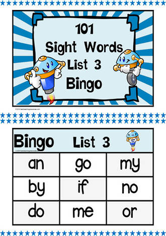 101 | Blue | List 3 | Sight Words | Bingo