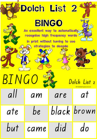 Sight Words |  Bingo Game |  Dolch Primer | List 2 | TAS Print