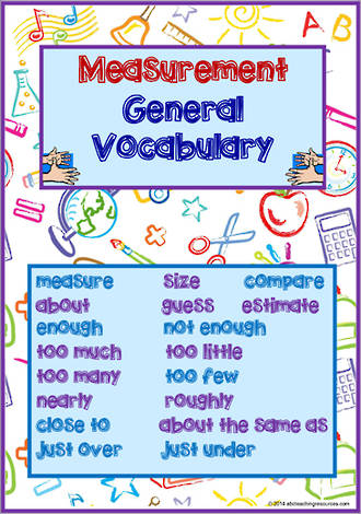 Mathematics Vocabulary | Measurement | Level 1 | Cards