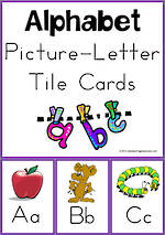 Alphabet  Picture-Letter |  Tile Cards | Zaner Bloser Style