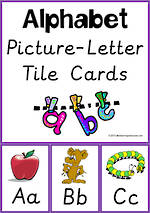 Alphabet  Picture-Letter |  Tile Cards | Sassoon Primary Style