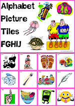 Alphabet |  F G H I J  Picture | Tile-Cards