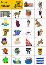 Aussie Alphabet | Picture-Letter- Word | Tile Cards