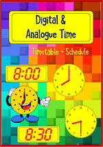 Timetable | Schedule | Digital and Analogue Clock | Cards
