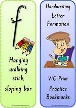 Foundation Handwriting | Terminology | Bookmark | Lowercase Letter | Cards | VIC Print