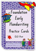 Foundation Handwriting  | Practice | Lowercase Words | Cards | QLD Print