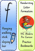Year 1 Handwriting | Terminology |  Bookmark | Lowercase Letter | Cards | VIC PreCursive