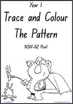 Year 1 Handwriting | Practice | Pattern and Shapes | Black and White | Charts | NSW-NZ Print