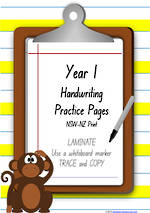 Year 1 Handwriting | Practice | Number| Laminate Cards | NSW-NZ Print