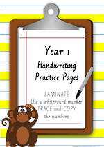 Year 1 Handwriting | Practice | Number | Laminate Cards | VIC Modern PreCursive