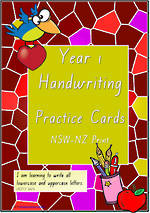 Year 1 Handwriting | Practice | Letter - Number - Sentence | Cards | NSW-NZ  Print