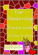 Year 1 Handwriting | Practice | Letter - Number - Sentence | Cards | VIC Modern PreCursive