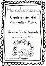 Year 2  Handwriting | Practice | Create | Alliteration Poster | VIC Modern Pre Cursive