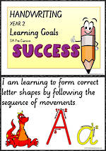 Year 2  Handwriting | Visible Learning | Goals | Charts | SA PreCursive