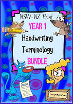 Year 1 | Handwriting | Terminology | BUNDLE | NSW-NZ Print