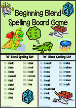 bl-br-cl-cr-dr-tr- Blend | Spelling | Board Game