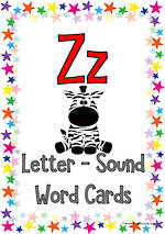 Letter Zz | Word | Cards | SA Print