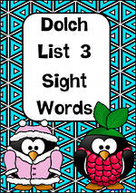 Sight Words |  Dolch Grade 1 | List 3 | Cards | VIC Print