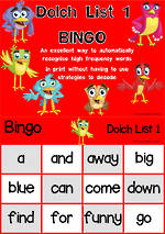 Sight Words |  Bingo Game |  Dolch Pre-Primer |  List 1