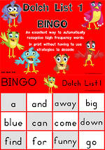 Sight Words |  Bingo Game |  Dolch Pre-Primer | List 1 | Zaner – Bloser Style