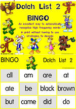 Sight Words |  Bingo Game |  Dolch Primer | List 2 | National First Style