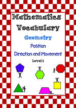 Mathematics Vocabulary | Geometry | Position, Direction and Movement| Level  1 | Cards