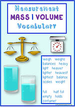 Mathematics Vocabulary | Measurement | Mass | Volume |  Level 1 | Tiles