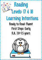 Reading Progressions | Levels 17 &18 | Learning Intentions | R.A. 7 years - 7.5 years