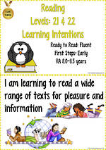 Reading Progressions | Levels 21 & 22 Learning Intentions | R.A. 8.0 years – 8.5 years