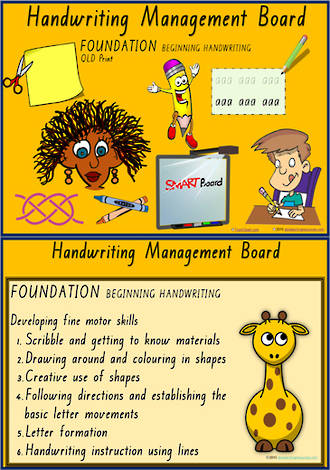 Foundation Handwriting  | Management | Activity Cards | QLD Print