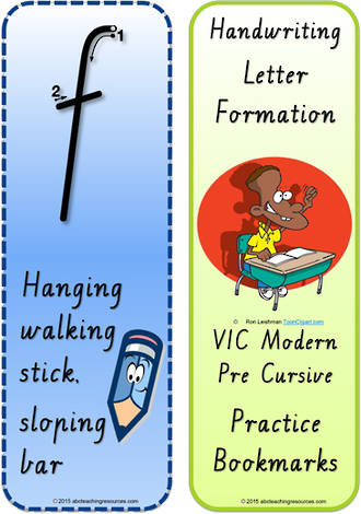Year 1 Handwriting | Terminology |  Bookmark | Lowercase Letter | Cards | VIC Modern PreCursive