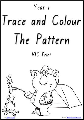 Year 1 Handwriting | Practice | Pattern and Shapes | Black and White | Charts | VIC Print