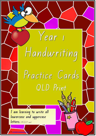 Year 1 Handwriting | Practice | Letter - Number - Sentence | Cards | QLD Print