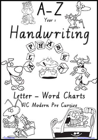 Year 1 Handwriting | Management | Letter – Word | Black and White | Charts | VIC Modern PreCursive