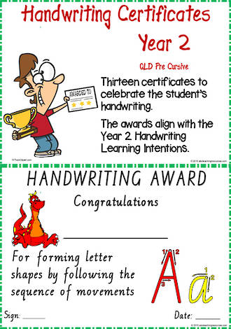 Year 2 Handwriting | Visible Learning | Achievement  Certificates | QLD PreCursive