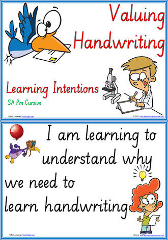 Year 2 Handwriting | Visible Learning | Valuing Handwriting | Learning Intentions | SA PreCursive