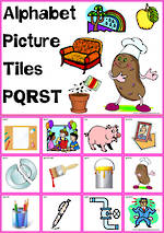 Alphabet |  P Q R S T  Picture Tile-Cards
