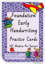 Foundation Handwriting | Practice | Lowercase Words | Cards | VIC Modern PreCursive