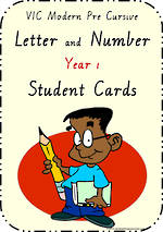 Year 1 Handwriting | Letter Formation | Table  Cards | VIC Modern PreCursive