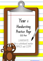 Year 1 Handwriting | Practice | Number| Laminate Cards | QLD Print