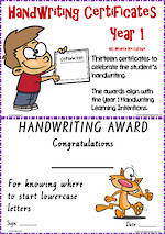 Year 1 Handwriting | Visible Learning | Certificates | VIC Modern PreCursive