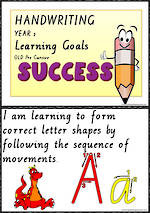 Year 2  Handwriting | Visible Learning | Goals | Charts | QLD PreCursive