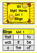 101 | Yellow | List 1 | Sight Words | Bingo