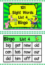 101 | Green | List 4 | Sight Words | Bingo